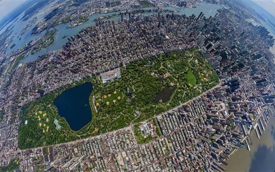 배경 화면 센트럴 파크, 고층 빌딩, 윗층, 뉴욕, 미국