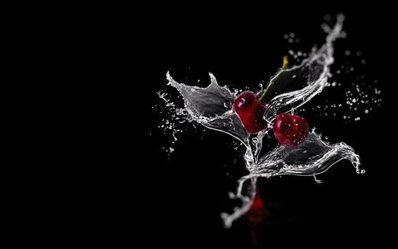 Wallpaper Cherry splash water, black background