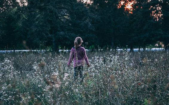Fond d'écran Enfant fille, fleurs sauvages, vue arrière
