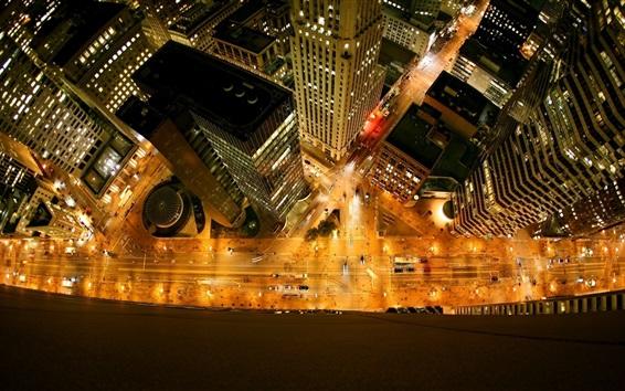 Fondos de pantalla Ciudad, edificios, rascacielos, carreteras, luces, vista superior, noche