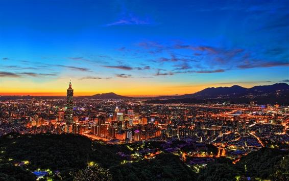 Papéis de Parede City night, Taipei, Taiwan, edifícios, luzes