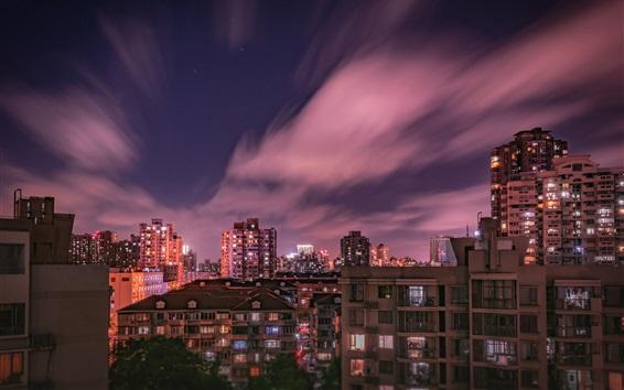 Papéis de Parede Cidade noite, casas, construção, luzes, nuvens