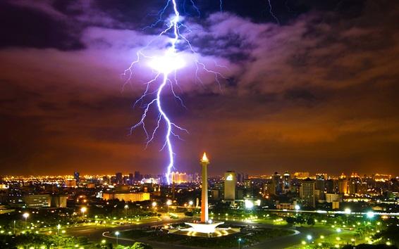 壁紙 都市の夜、照明、建物、雷