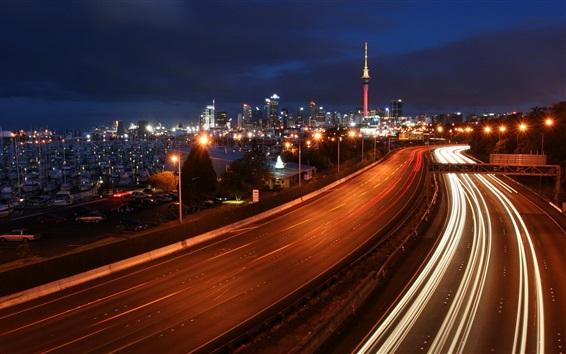 Wallpaper City, night, roads, traffic, lights