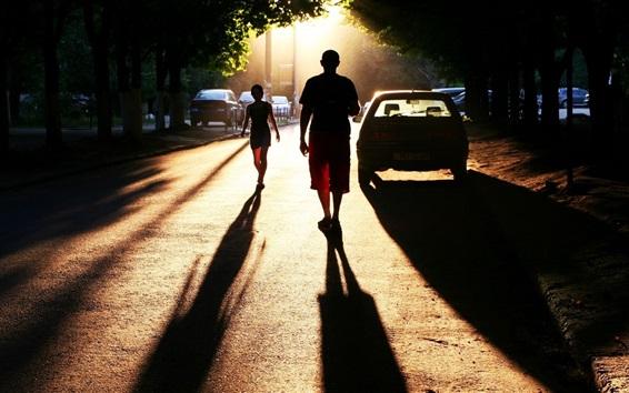壁紙 都市、道路、人、車、日没、日差し、影