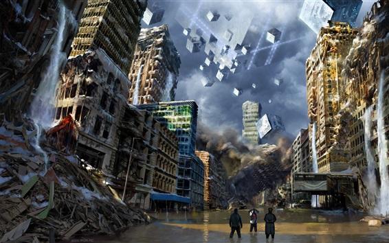 Обои Город, руины, здания, вода, художественная фотография