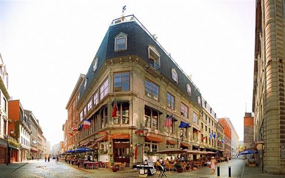 Fond d'écran Rue de la ville, café, personnes