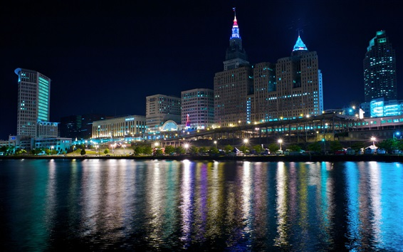 Wallpaper Cleveland, night, lights, river, skyscrapers, USA