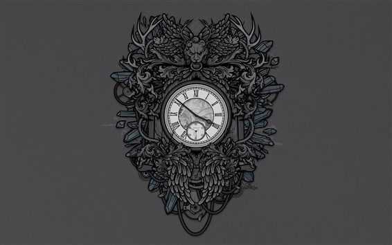 Wallpaper Clock, lion, art drawing