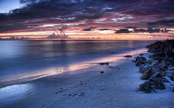 Wallpaper Coast, sea, clouds, sunset, nature scenery