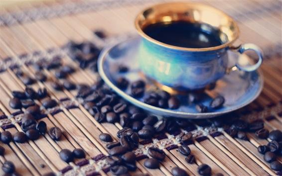 Обои Кофе в зернах, чашка, напитки