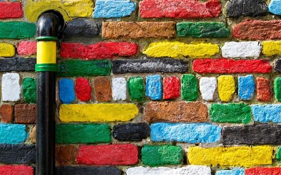 Обои Цветная кирпичная текстура, стена