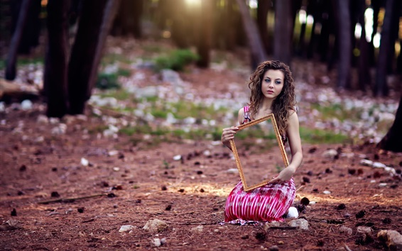 Wallpaper Curly hair girl sit on ground, mirror