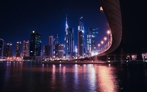 Fond d'écran Dubaï, EAU, gratte-ciels, rivière, pont, lumières, nuit de la ville