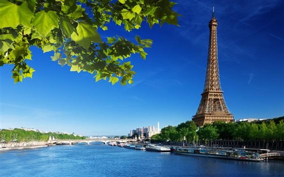 Wallpaper Eiffel Tower, Seine river, bridge, Paris, France