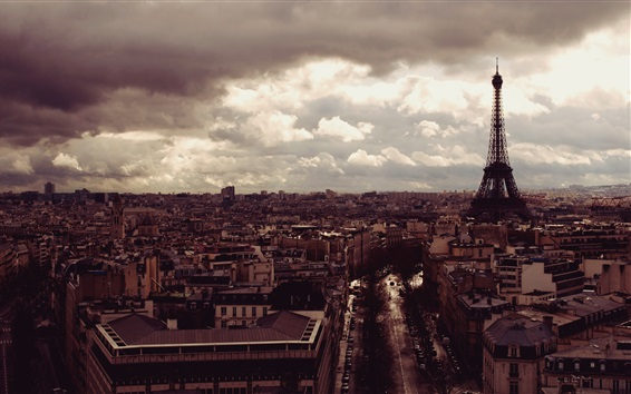 Wallpaper Eiffel Tower, city, top view, clouds, dusk, Paris, France