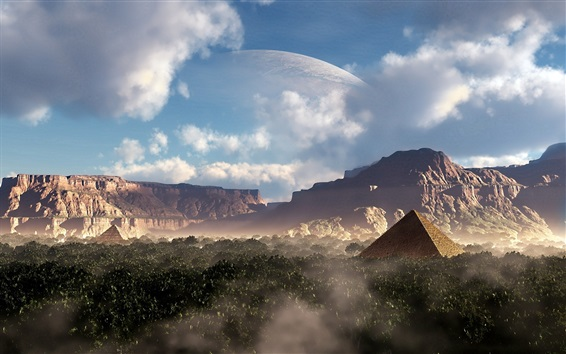 Wallpaper Fantasy design, pyramid, canyons, mountains, planet, trees, clouds
