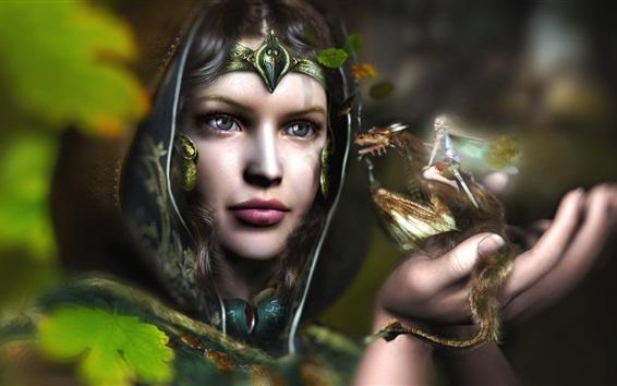 Обои Девушка-фантазия, фея, дракон