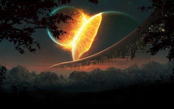 Fond d'écran Espace fantastique, planète, gratte-ciels, montagnes