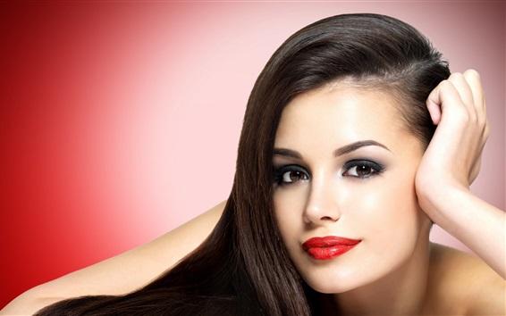 Wallpaper Fashion girl, black hair, face, red lips