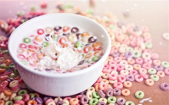 Wallpaper Food, cereal circles, colorful, milk, splash