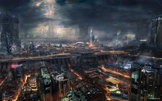 Wallpaper Future city, night, skyscrapers, lights, sci-fiction