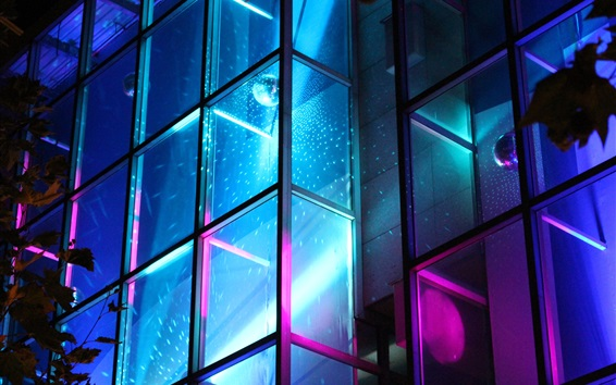 Wallpaper Glass window, neon light, night