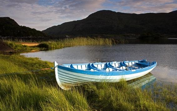 Papéis de Parede Grama, barco, lago