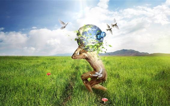 壁紙 草、人、地球、鳥、雲、空、クリエイティブイメージ