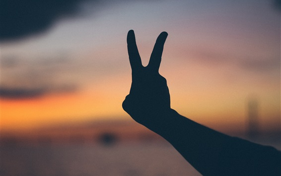 Fond d'écran Geste de la main, les doigts, le crépuscule