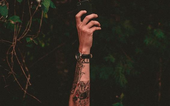 배경 화면 손, 문신, 시계