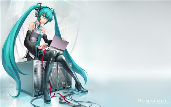 壁紙 初音ミク、青い髪のアニメの女の子用コンピュータ