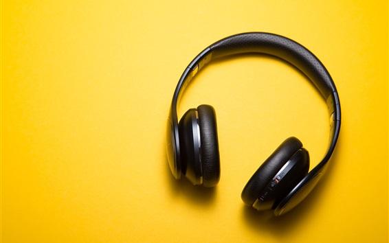 Wallpaper Headphones, yellow background