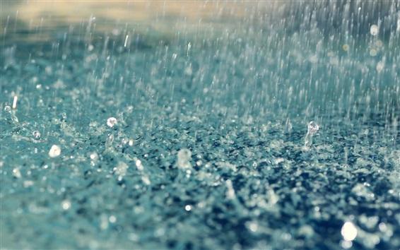 Wallpaper Heavy rain, water drops