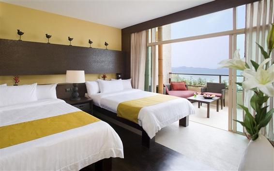 Fondos de pantalla Hotel, habitación, cama, balcón