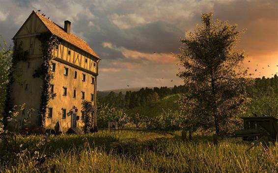 Wallpaper House, trees, grass, clouds, dusk