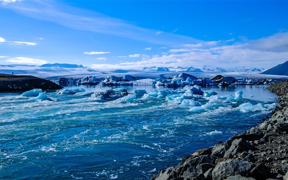 Wallpaper Iceland, ice, sea, coast, snow
