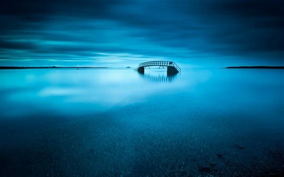 Обои Озеро, мост, сумерки