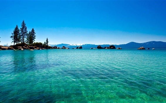 Wallpaper Lake, clear water, blue sky