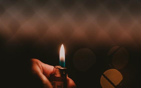 Wallpaper Lighter, fire, flame, hand, dark