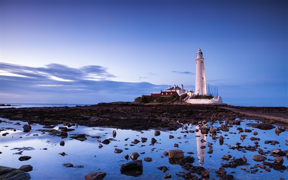 Wallpaper Lighthouse, stones, sea, blue sky