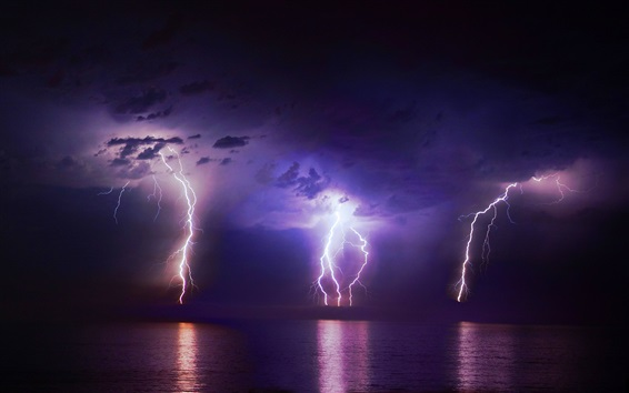 Lightning, clouds, night, sea, weather Wallpaper Preview