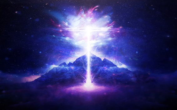 Wallpaper Lightning, mountain, light, creative picture