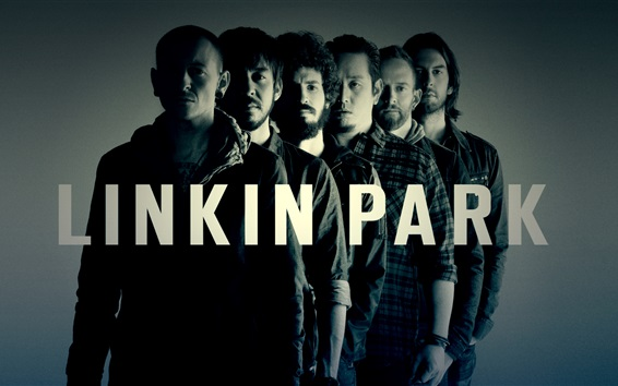 Wallpaper Linkin Park rock band, black and white style