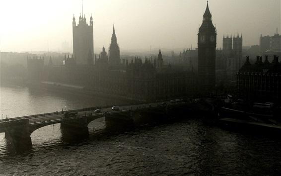 Wallpaper London, bridge, river, Big Ben, morning, mist, England