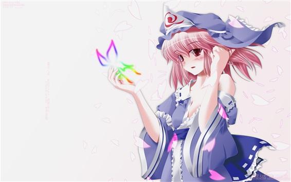 Обои Прекрасная розовая девушка аниме, бабочка