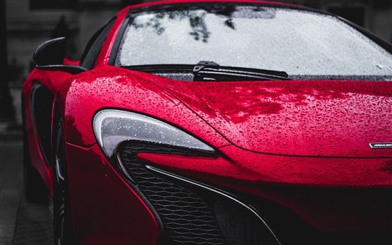 Fond d'écran Vue de face de voiture rouge McLaren, phare, après la pluie, gouttes d'eau
