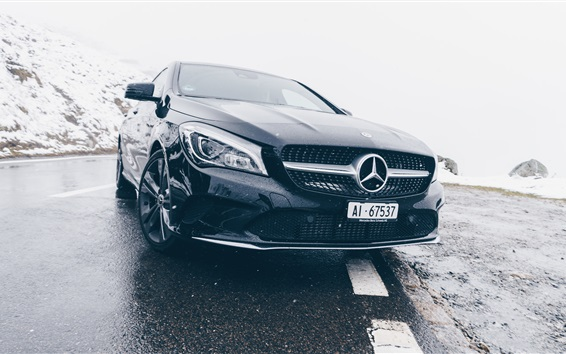 Wallpaper Mercedes-Benz black car front view, headlight, rain