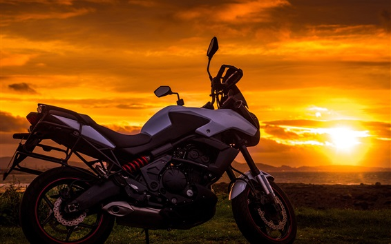 Wallpaper Motorcycle at sunset, clouds
