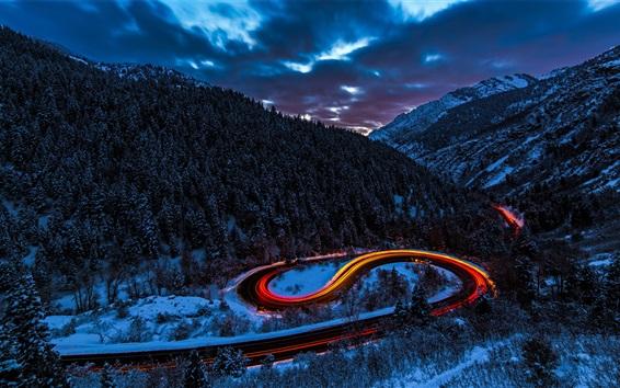Wallpaper Mountains, forest, snow, road, light, car, winter, dusk